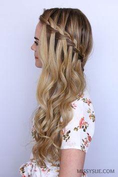 waterfall-braid-sideswept-hair-tutorial