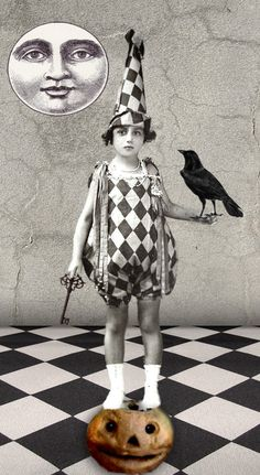 """doing Tricks, of course! """"Black & white crow collage"""" by Romany Soup Digital Collage, Collage Art, Collages, Pierrot, La Rive, Crows Ravens, Vintage Cards, Vintage Images, Vintage Halloween"""