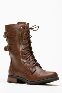 Bamboo Double Buckle Side Zipper Combat Boot