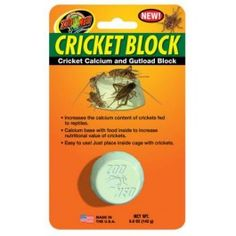 Cricket calcium and gutload block for crickets.