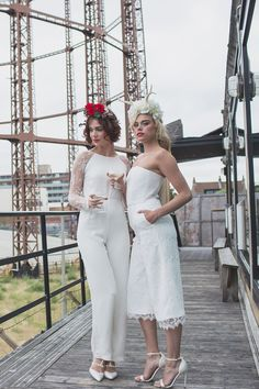 Super-stylish Mrs & Mrs looking fabulous in House of Ollichon bridal jumpsuits. If you're looking for an alternative wedding day look, check out www.houseofollichon.co.uk for gorgeous jumpsuits and separates. #samesexwedding #lgbt #lgbtq #bridetobe #LesbianWeddingOutfit
