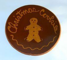 1984 Redware Plate Glazed with Slip Decoration Gingerbread Man Christmas Cookies by Ned Foltz