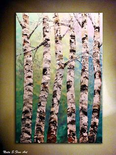 We love birch trees. You may have noted this based on some of our prior posts, like showing how we made our birch pendant lamps here: . Birch Tree Art, Birch Forest, Acrylic Canvas, Canvas Art, Palette Knife Painting, Painting Inspiration, Lovers Art, Diy Art, Art Lessons