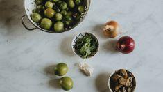 Kat's Green Tomato Salsa — Gartur Stitch Farm Green Tomato Salsa, Green Tomato Recipes, Green Tomatoes, Italian Tomato Sauce, Scotch Bonnet Pepper, Hot Salsa, Acidic Foods, Pepper Seeds, How To Dry Oregano