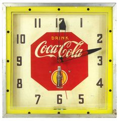 """Coca-Cola neon clock, """"Drink Coca-Cola"""" w/bottle"""