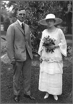 Harry & Bess Truman:  Lieutenant Truman proposed and they were engaged before he left for France in 1918. They were married on June 28, 1919 and lived in her mother's home.