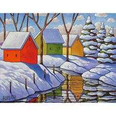 Art Print Giclee by Cathy Horvath 8.5x11 Modern Folk Art, Winter Snow River Stream Reflection Pine Tree, Landscape Fine Artwork Reproduction