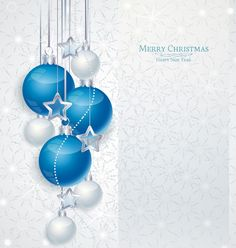 White Christmas Background with Blue Ornaments​ | Gallery Yopriceville - High-Quality Images and Transparent PNG Free Clipart