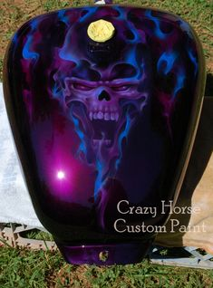 Candy Purple Basecoat with purple and blue real fire flames with a skull.