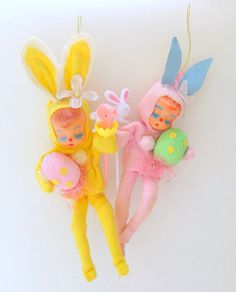 Vintage Easter Knee Hugger Ornaments Yellow and by teresatudor, $15.00