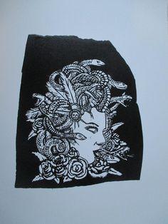 medusa, linoleum carving print