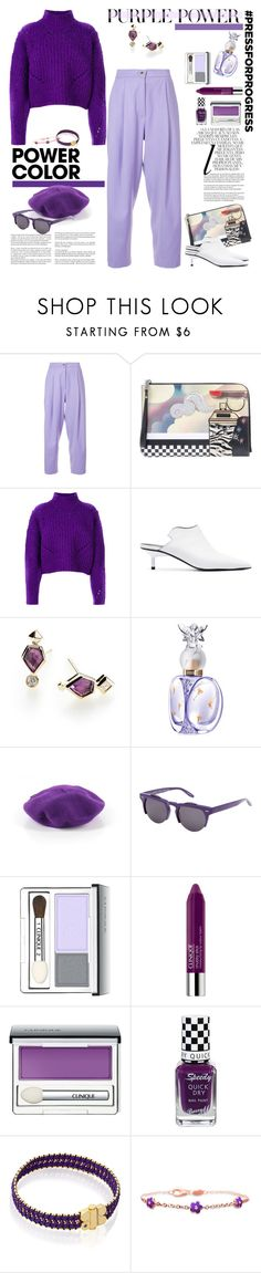 """Power Color: Purple"" by ellie366 ❤ liked on Polyvore featuring Natasha Zinko, Whiteley, Marc Jacobs, Isabel Marant, Marques'Almeida, Kendra Scott, Anna Sui, Angela & William, Barton Perreira and Clinique"