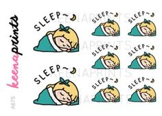 A675 | SLEEPING stickers - KEENARI rest stickers, me time stickers, lazy stickers, sleep stickers, planner stickers, blonde stickers, eclp
