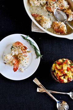 Coconut Baked Shrimp with Pineapple Peach Salsa | howsweeteats.com
