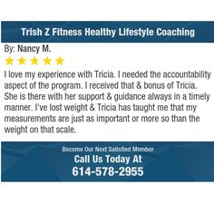 I love my experience with Tricia.  I needed the accountability aspect of the program. I...
