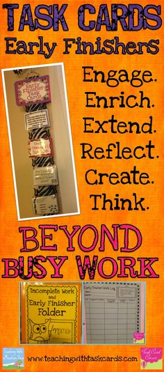 Task Card Corner: Early Finisher Task Cards : Beyond Busy Work!...I like the flip flop hanger idea!