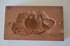 Kashigata sweets mold, hand carved,  antique Japanese kashigata, lotus design