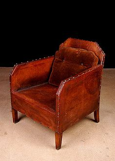 Pair of French Vintage Art Deco Period Leather Club Chairs