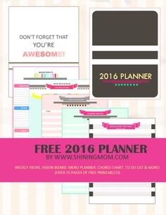 This FREE 2016 planner has over 25 clean, colorful and stylishly designed pages to make your life stay organized for a more fruitful year ahead!