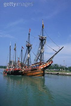 tall ship port colborne canal, ontario similar to Mayflower in design. Ship Figurehead, Cool Boats, Pirate Life, Sail Away, Tall Ships, Yachts, Sailing Ships, Ontario, Underwater