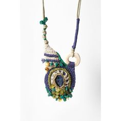 Ecru, Mauve,Green, Crocheted necklace Pendant with Gemstones