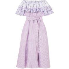 Gül Hürgel Off-the-shoulder broderie anglaise-trimmed striped linen... (€645) ❤ liked on Polyvore featuring dresses, платье, lavender, stripe dresses, pink off shoulder dress, pink dress, pink striped dress and off shoulder summer dress