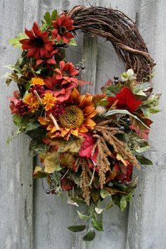 Autumn Wreath Fall Floral Designer Wreaths by NewEnglandWreath Thanksgiving Wreaths, Autumn Wreaths, Holiday Wreaths, Wreath Fall, Pumpkin Wreath, Autumn Decorating, Fall Decor, Corona Floral, Sunflower Wreaths