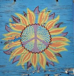 ☮ American Hippie Psychedelic Art ~ Peace Sign Mandala Sun