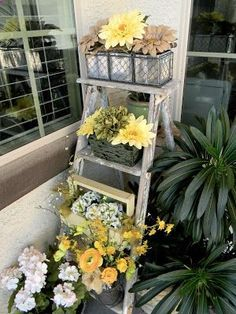 Display potted flowers on an old ladder
