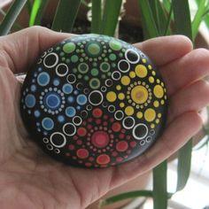 "Energy Stone ""ALICE"" Hand Painted Mandala River Stone ~ Four Elements by WrenStones on Etsy"