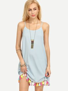 Shop Blue Spaghetti Strap Tassel Shift Dress online. SheIn offers Blue Spaghetti Strap Tassel Shift Dress & more to fit your fashionable needs.