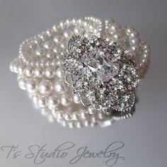 Pearl Bridal Bracelet, Multi Strand Cuff with Rhinestone Brooch, Wedding Jewelry - CAMILLE. $88.00, via Etsy.