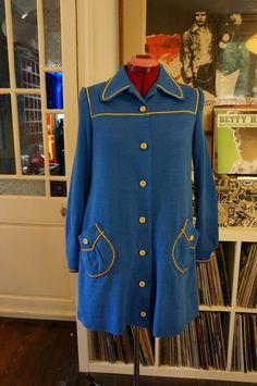 70s blue dress coat yellow trim vintage 1970s 60s 1960s