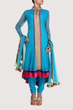 Blue net suit with asymmetric hem and mandarin collar. Shop Now: www.karmik.in/shopping/index.php