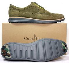 NIB Men's Cole Haan LunarGrand Olive Suede Wingtip Oxfords Shoes sz 13 M #ColeHaan #Oxfords