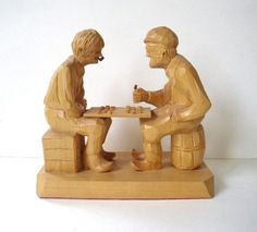 Vintage Hand Carved Wood Figurine Sculpture by therecyclingethic