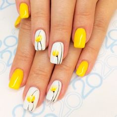 Simple Flower Nail Art Designs are a few of the most revered suggestions for nail art as the various colours and designs of flower nails. Flower Nail Designs, Flower Nail Art, Nail Designs Spring, Nail Art Designs, Easter Nail Designs, Spring Nail Art, Spring Nails, Summer Nails, Yellow Nails Design