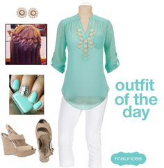 Outfit Of The Day {MINT} I just wore this the other day, minus the silver nail...