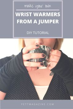 DIY wrist warmers from an old jumper