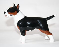 Bull terrier dog ceramic figurine handmade statue statuette