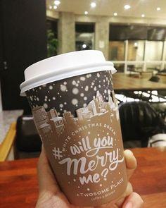 ♡ 161205 . . ❄컵 이뿌당❄ #marry 말고 #merry   #투썸플레이스 #강정보  #willumerryme