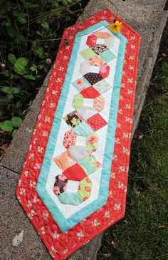 Table runner made with Fig Tree charms pack