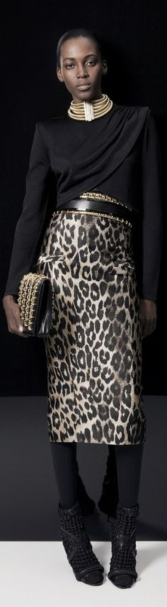 Leopard animal print skirt. Balmain Pre-Fall '14. Love how it is matched with luxe accessories.