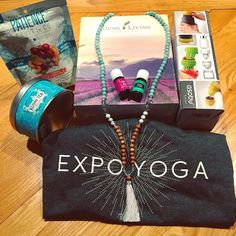 A couple of goodies that I bought @expoyoga_canada today  I absolutely had a great time with my mom  we learned a bunch of interesting stuff  I already planned my next yoga retreat ( probably will do more than one this year) I am the happiest girl on earth right now !  Here is what I bought : ( left to right) - mix nuts from @patiencefruitco - Tea that smells and tastes like pineapple from @kusmicanada  -essential oils box from @younglivingeo - Mala that I've wanted for so long @aura_vibe…