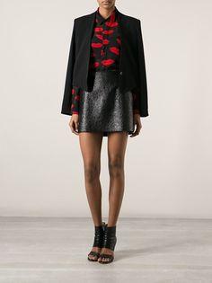 029484ed371bf Lip Lock! SAINT LAURENT printed lips shirt Designer Fashion Leather  Mini-Skirt Red Black Button-Down Blazer Buttons Sandals Trend 2014  farfetch.com