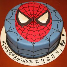 spiderman cake idea that I could maybe possibly do. - Visit to grab an amazing super hero shirt now on sale! Spiderman Torte, Spiderman Cake Topper, Spiderman Birthday Cake, Spiderman Face, Batman Cakes, Superhero Cake, 4th Birthday, Birthday Ideas, Fondant Cupcakes