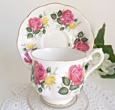 Royal Albert Teacup and Saucer Rose Vintage Tea Cup by treasurecoveally on Etsy