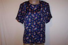 HELENE ST MARIE Shirt Top Blouse L Short Sleeve Blue Multi Color Flag Crowns NWT #HeleneStMarie #Blouse #Career