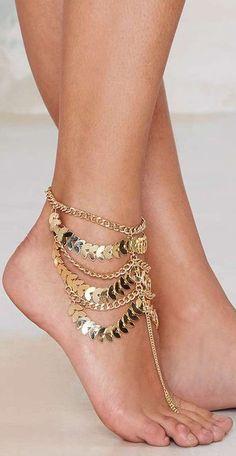 Boho Gold Coin Ankle Chain ❤︎ #beach #wedding #inspiration