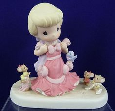 Precious Moments Disney Cinderella Holding Dress Anything Possible with Friends